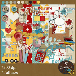 "Free scrapbook ""School"" from Dhariana Scraps"