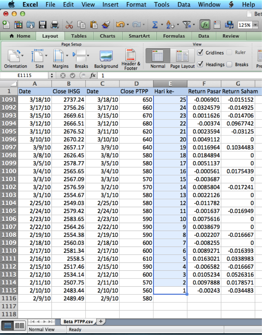 how to find beta in excel slope