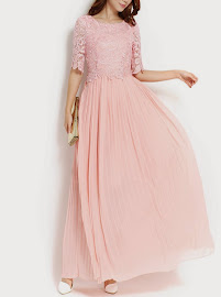Half Sleeve Sweet Pink Embroidery Top Chiffon Maxi Dress