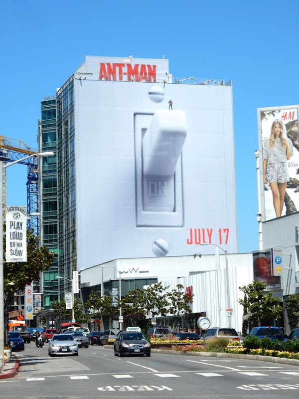 Giant AntMan light switch movie billboard Sunset Strip