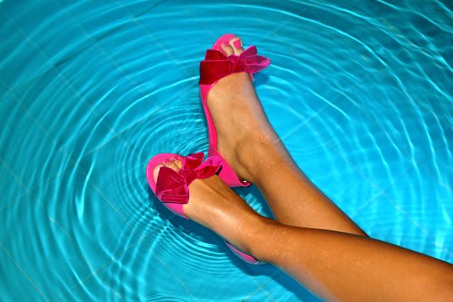 sandales été noeuds rose