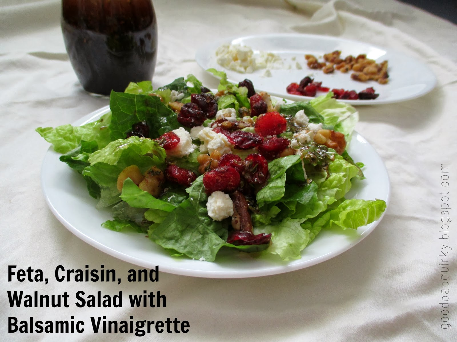 Feta, Craisin, and Walnut Salad with Balsamic Vinaigrette