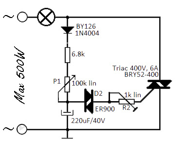 Flashing light uses triacs Schematic Circuit