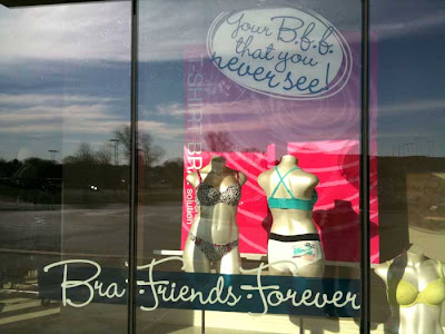 Store window with mannequins in bras and underpants, window labeled Bra Friends Forever