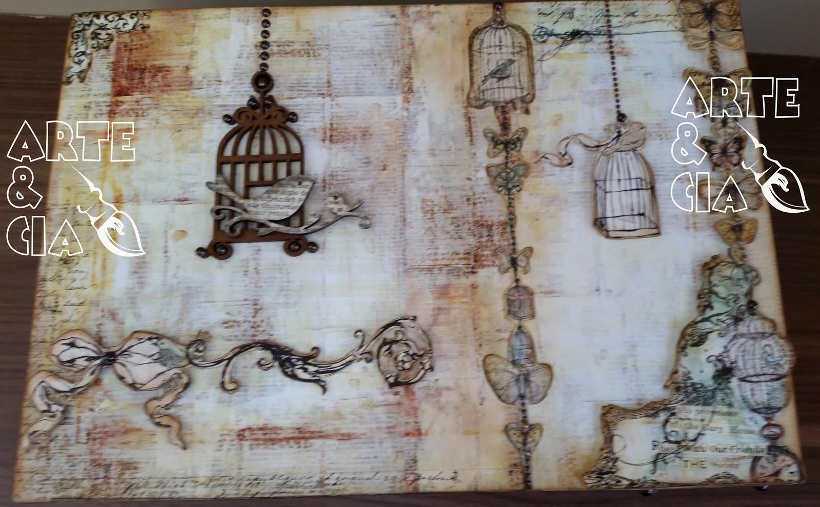 Caixa de passarinhos e gaiolas: scrapbooking e apliques de madeira  #624B3C 1600x989