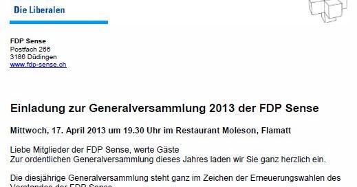 fdp bösingen generalversammlung 2013 der fdp sense - einladung gv 2013