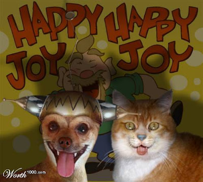 photo shopped dog and cat as Ren and Stimpy. Happy happy joy joy