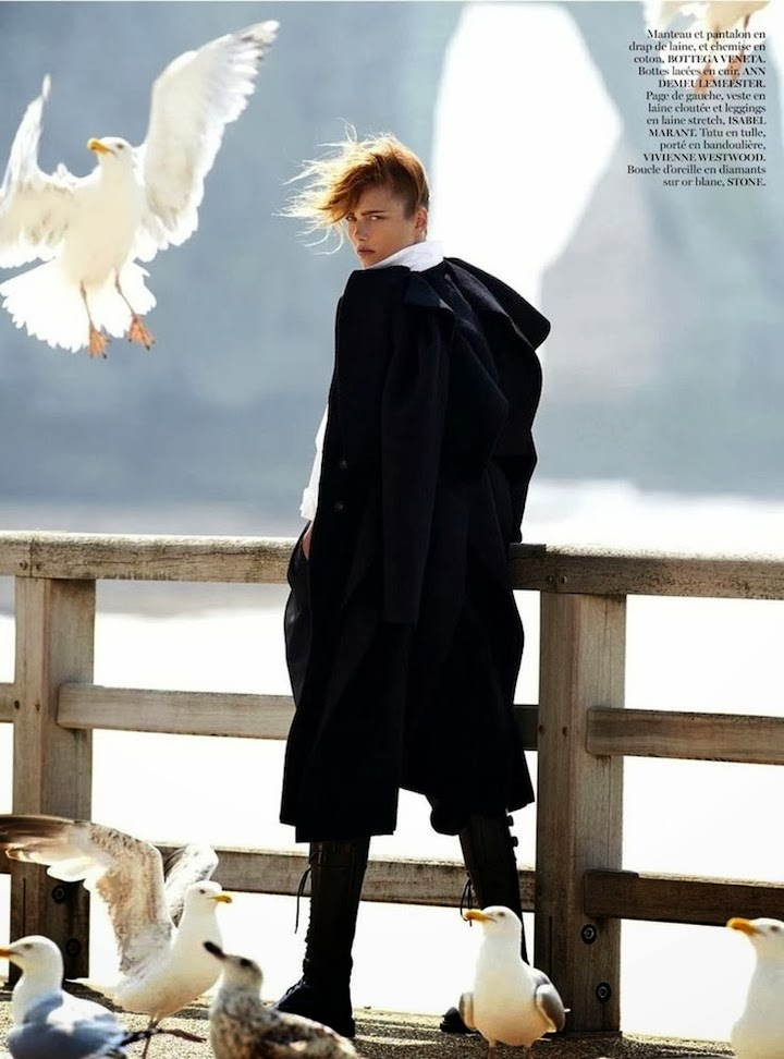 karmen pedaru by gilles bensimon x vogue paris august 2013. demeulemeester boots