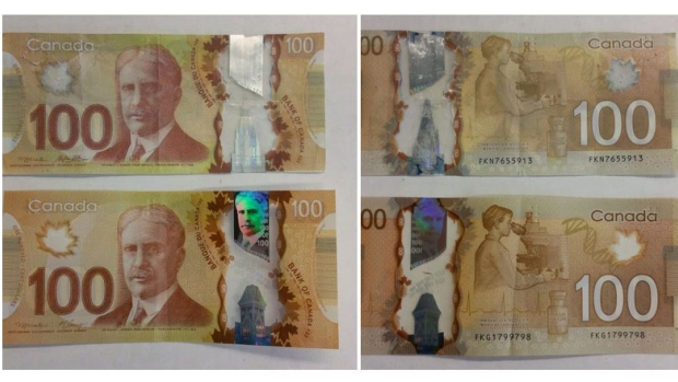 Real and Fake Canadian Plastic Currency