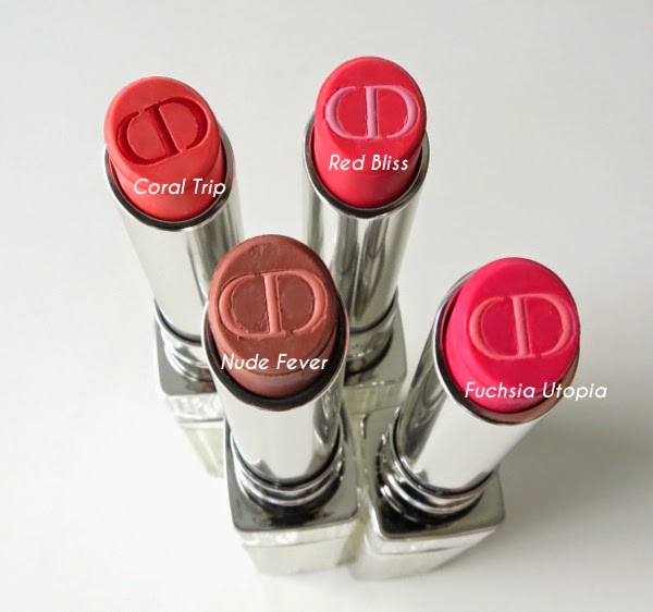 Dior Addict Tie Dye Lipstick limited editions: Red Bliss, Nude Fever, Fuchsia Utopia, Coral Trip