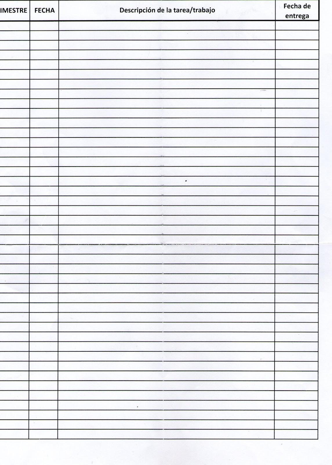 Hoja de registro de Tareas/Trabajos Matemáticas | Instituto Juárez 2 ...