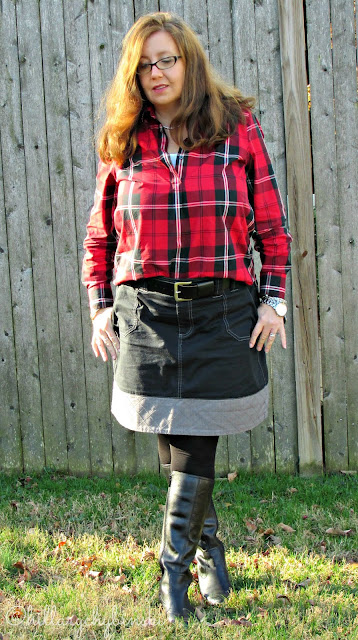 Casual Holiday Look, Featuring Red Plaid Shirt and Black Skirt