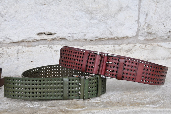Leather belts with holes and buckles, $68