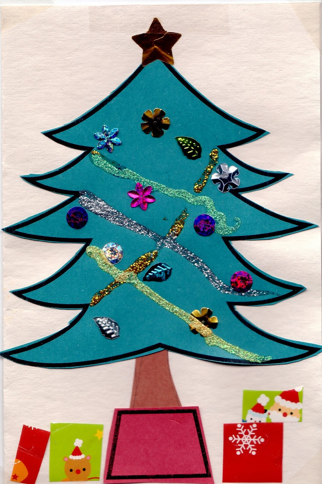 Preschool crafts for kids easy christmas tree card craft for Christmas crafts for pre schoolers
