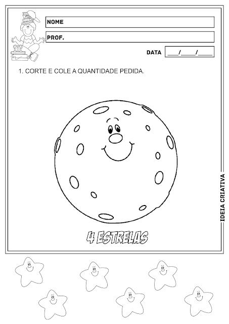 Número e Quantidade Recorte e Colagem Matemática Educação Infantil