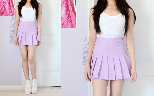 A cute, pastel outfit featuring a custom-print Snapmade tank, a pastel purple/lavender/lilac American Apparel tennis skirt dupe, and spiked high-heel shoes.