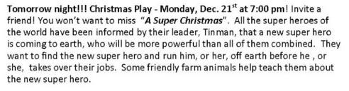 Christmas Play Monday December 21st