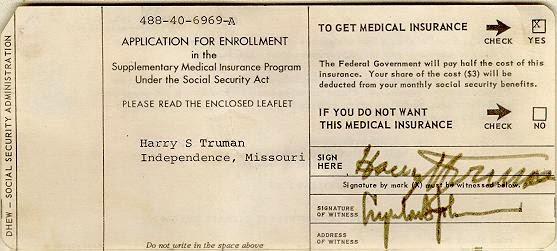 President Truman's Medicare Card