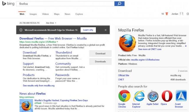 Microsoft y Bing benefician a Microsoft Edge sobre Chrome y Firefox en los resultados