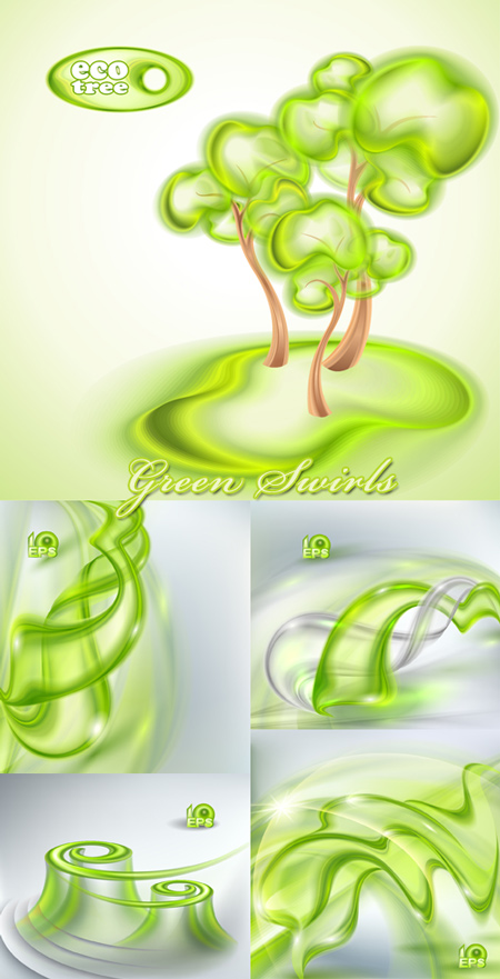 Green Swirls - Vector Backgrounds