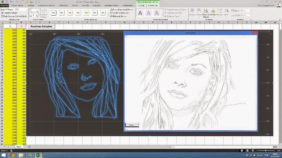 Gráfico, rosto, desenho, imagem, dispersão, Excel, vba