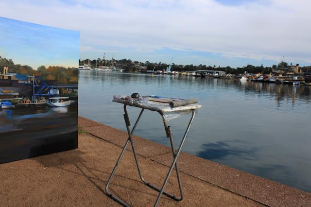 oil painting of 'The Sydney Heritage Fleet from Blackwattle Bay' by artist Jane Bennett