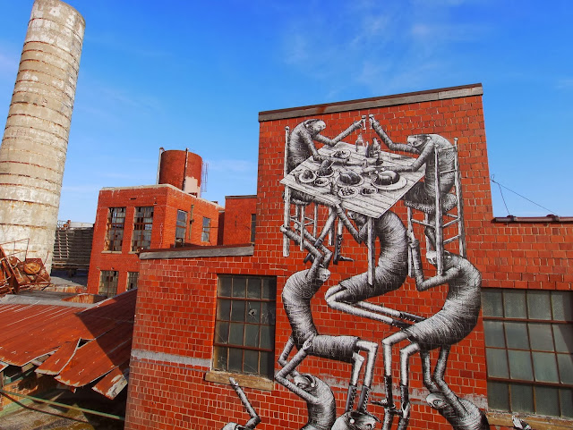 New Street Art Mural By Phlegm which was painted on the wall of an old Bourbon distillery in Lexington Kentucky. 2
