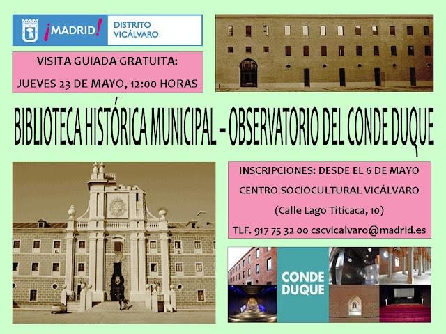 guiada gratuita mayo Biblioteca Histórica -Observatorio Conde Duque
