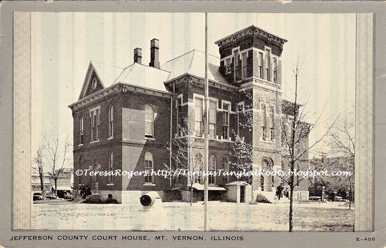 Illinois jefferson county ina - Jefferson Co Courthouse Note Steeple Removed Circa1935