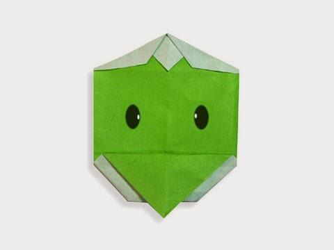 Hướng dẫn cách gấp mặt con quái thú Kappa bằng giấy đơn giản - Xếp hình Origami với Video clip - How to make a Kappa's face