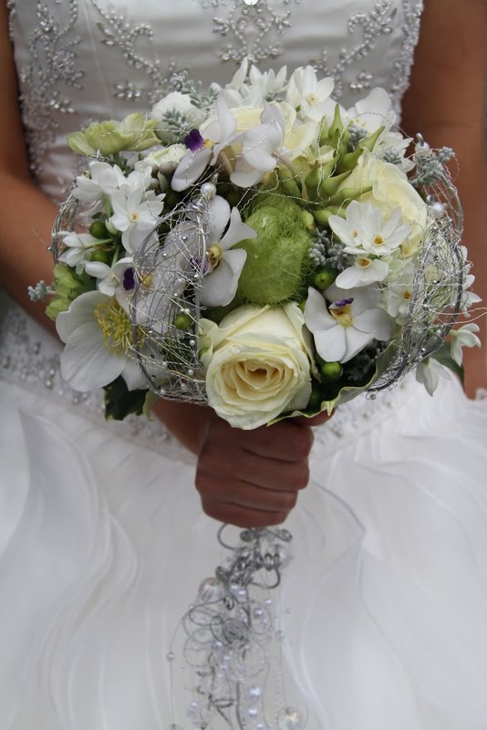 Emma's gorgeous all white wedding bouquet of Christmas Roses Paper Whites