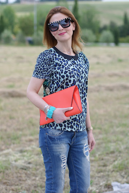 studdes sunglasses, leopard print blouse, boyfriend jeans, Fashion and Cookies