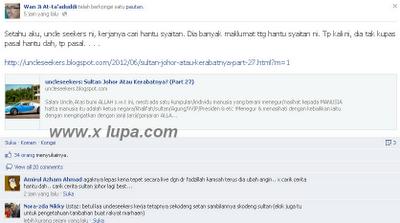Sultan Johor Dihina Ustaz Dalam Facebook