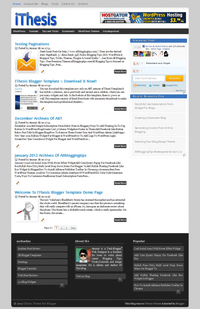 Ithesis Template for blogger