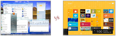 win 7 interface v/s win 8 interface