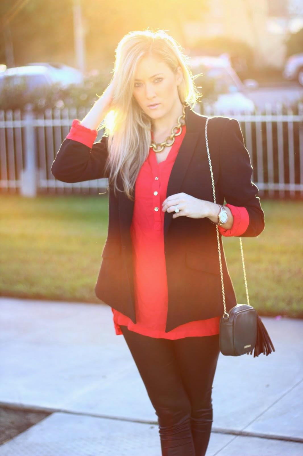 Lauren Merkin, Express Blouse, Black Blazer, Leopard Pumps, Holiday Outfit