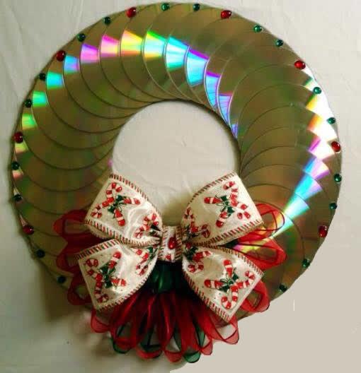 Enfeites de natal com cds a arte de ensinar e aprender - Decoracion de navidad manualidades ...