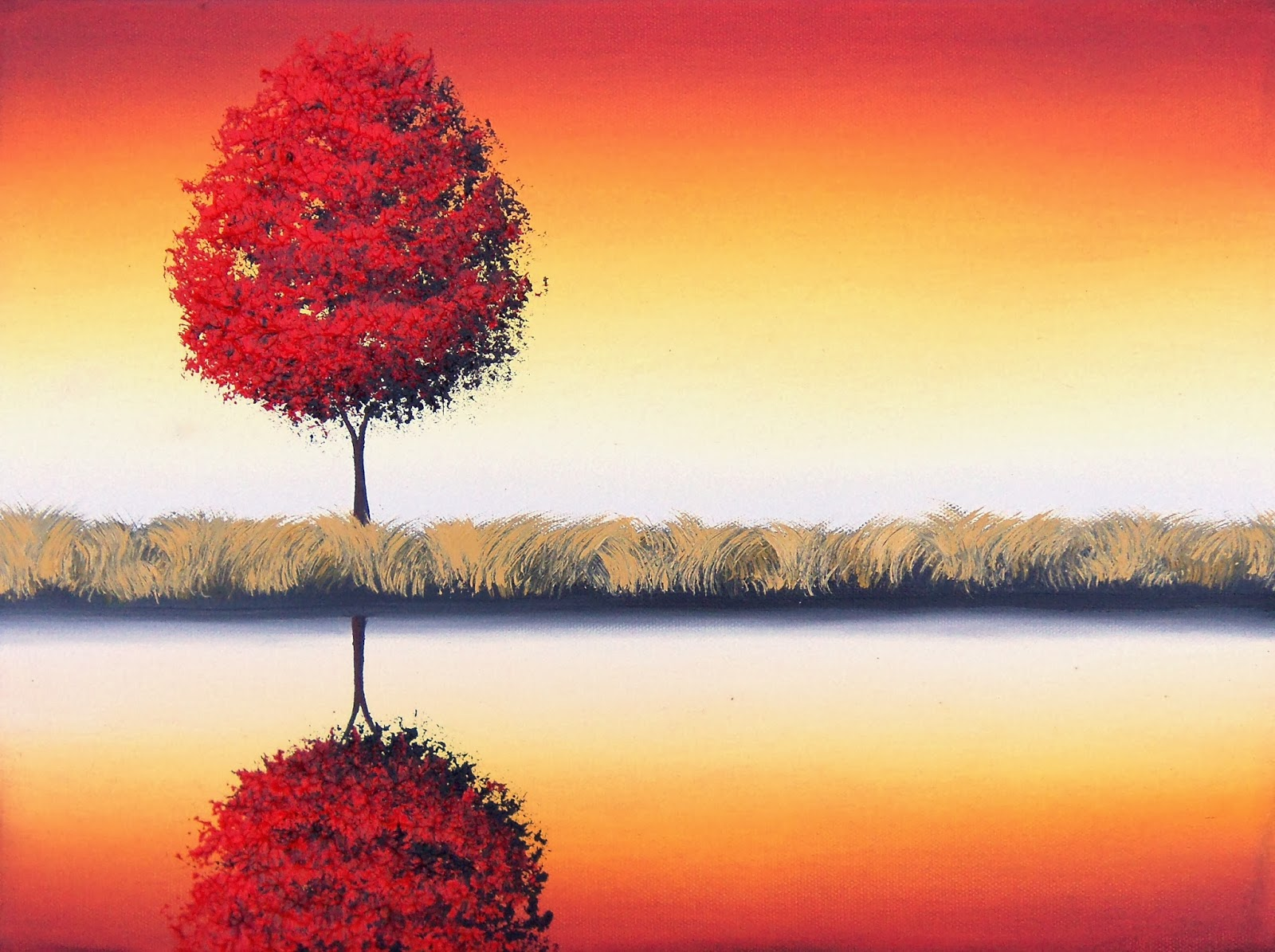 Modern Art Landscape Painting Red Tree Contemporary Art 12 X 16