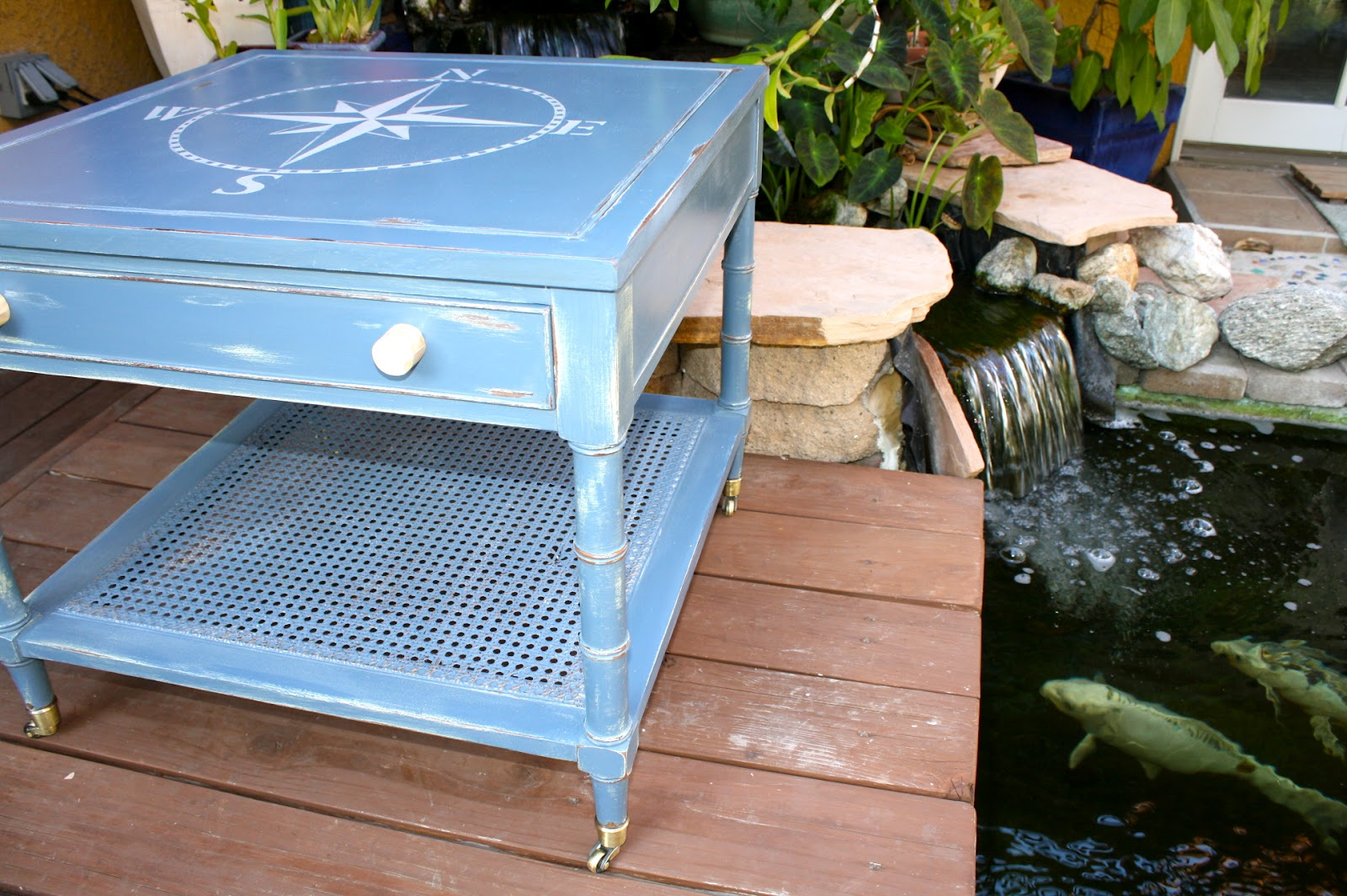 Makemeprettyagain cute little vintage table w nautical for Koi pool table