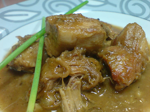 Lechon Paksiw On A Plate With Sauce