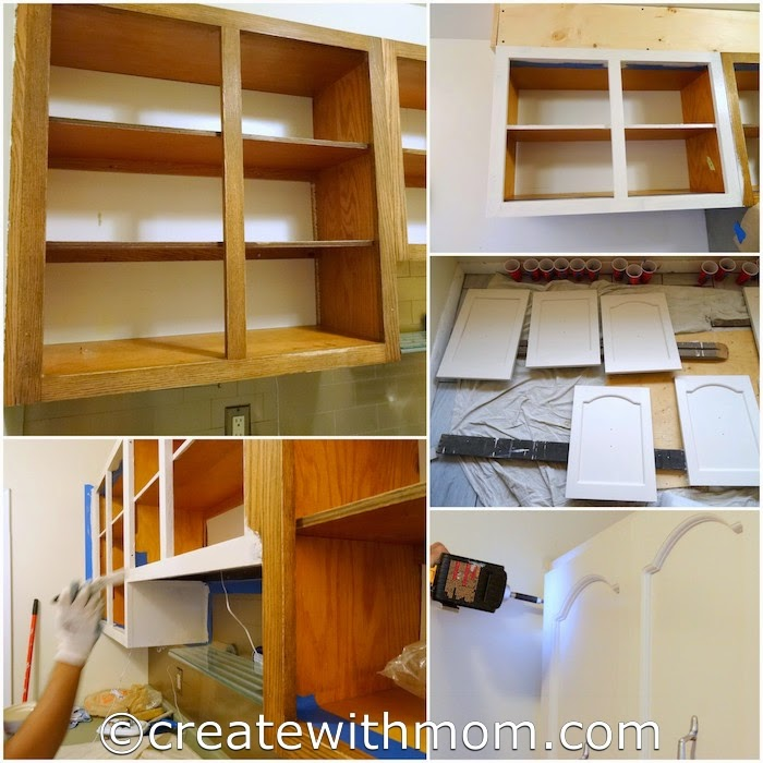 create with mom our cabinet transformation using rust oleum