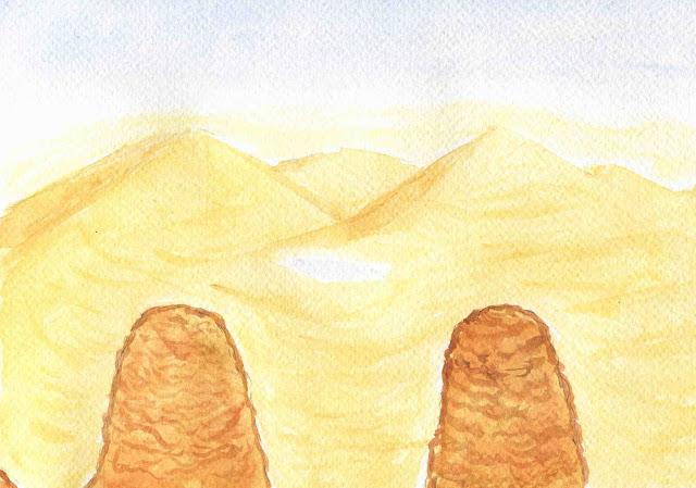 Chameau à bosses, mirage de dunes
