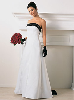 The Alfred Angelo 1516 With Blue Trim And Matching Flower Girl Dress