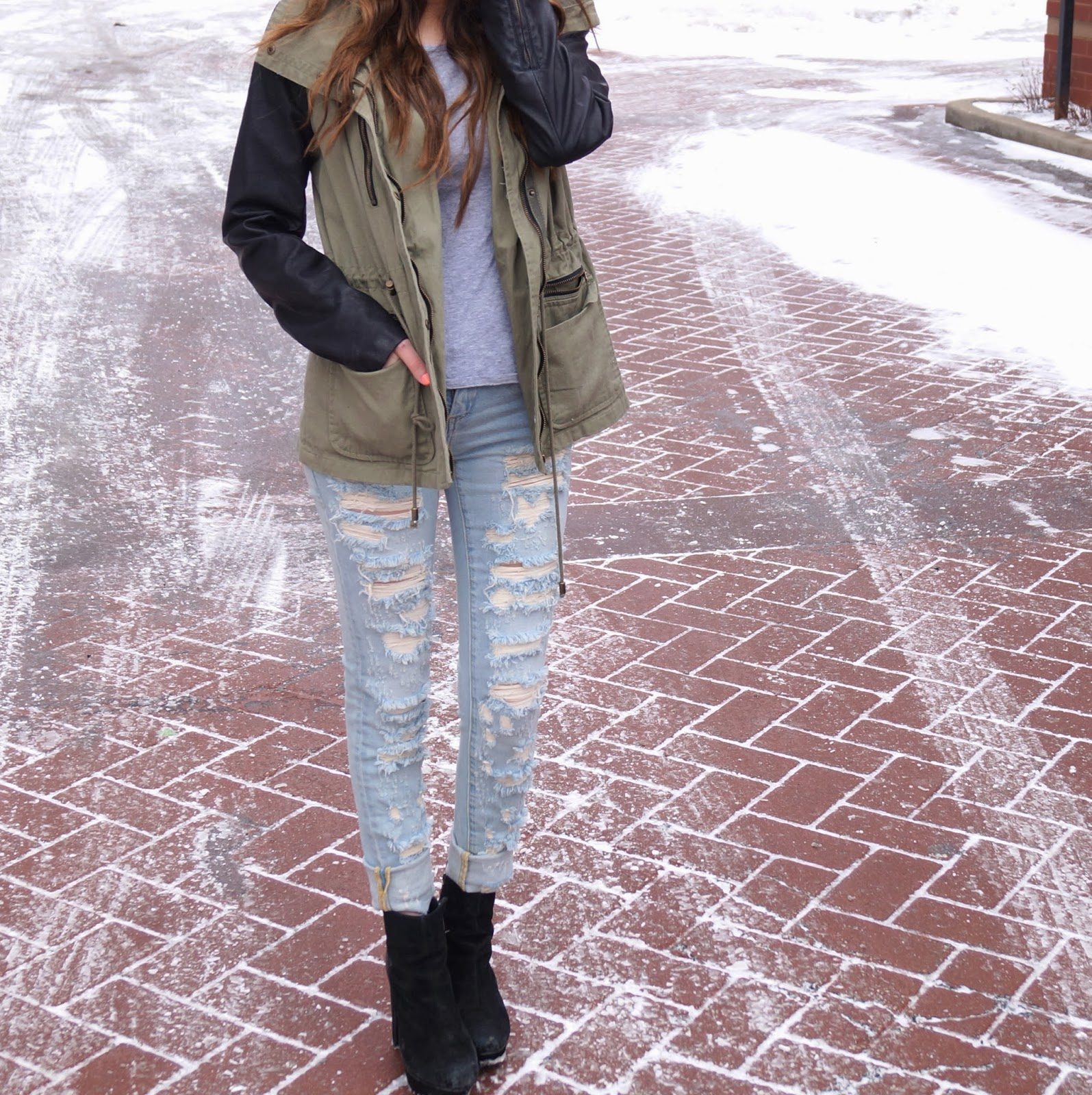 Distressed Denim + Army Jacket