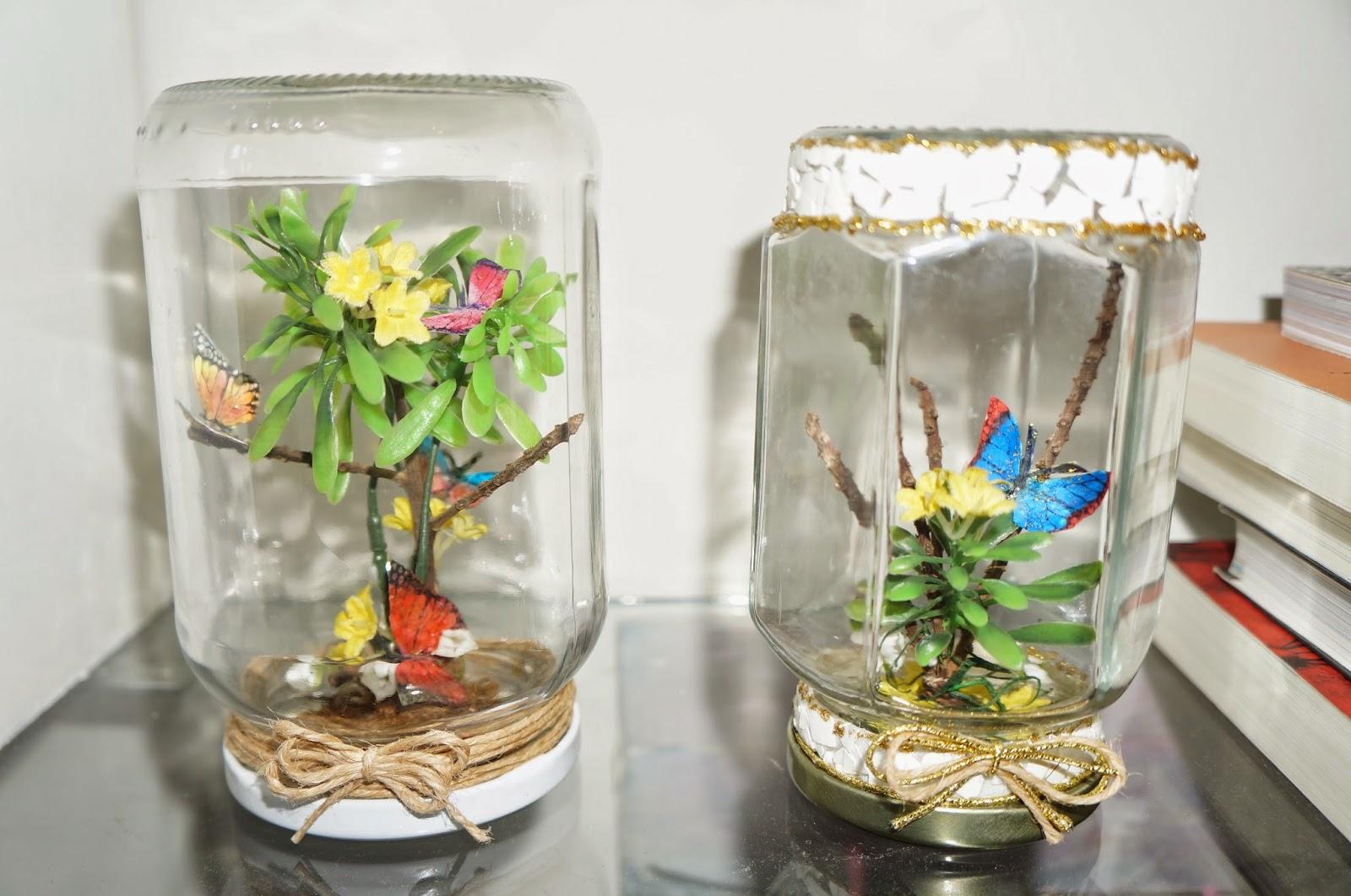 mini jardim de vidro:vidro de conserva