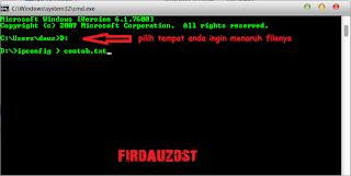 Menyimpan hasil perintah Command Prompt ke dalam file