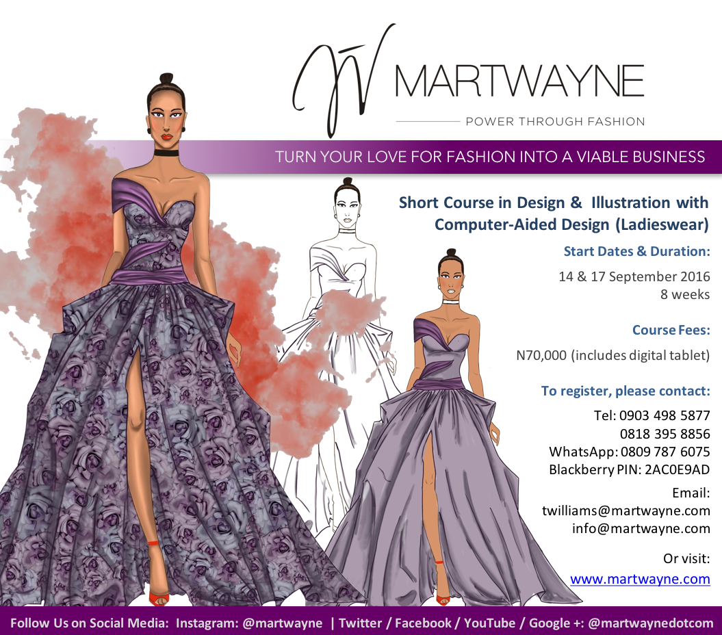 Design, Fashion Illustration & Computer-Aided Design (Ladieswear)  Watch out for 2017 dates.