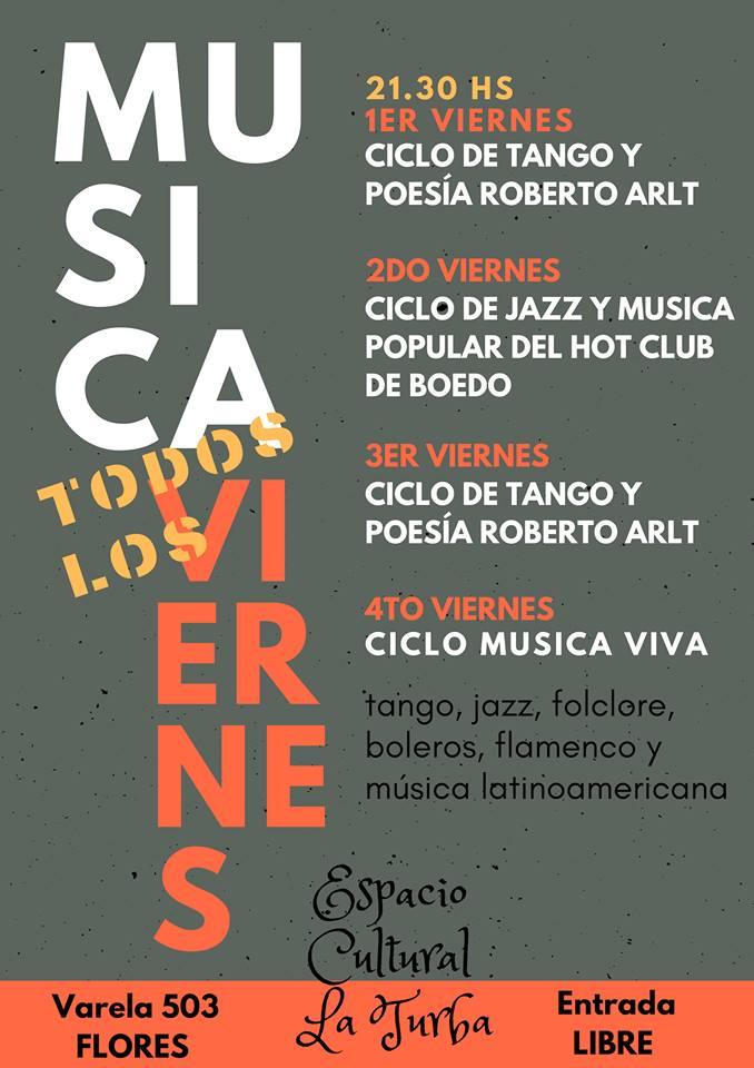 """Viernes de música popular en """"Espacio Cultural La Turba"""""""