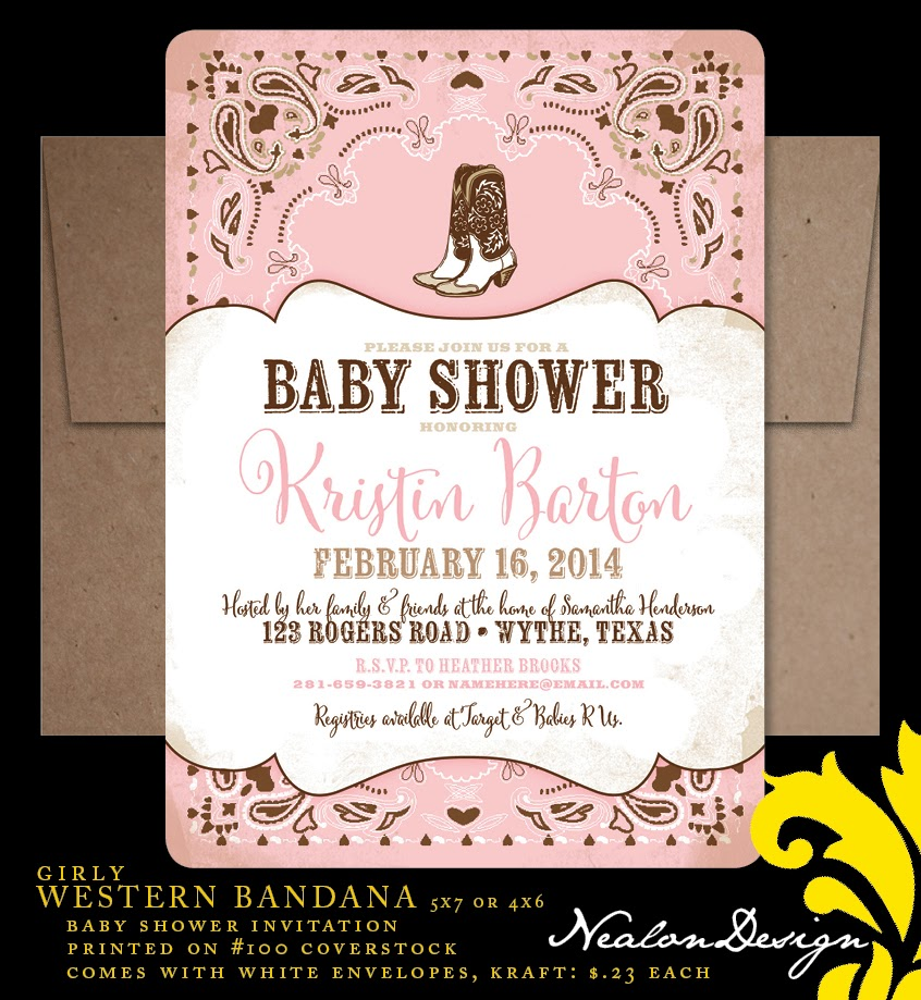 Nealon Design: WESTERN BANDANA Baby Shower Invitation