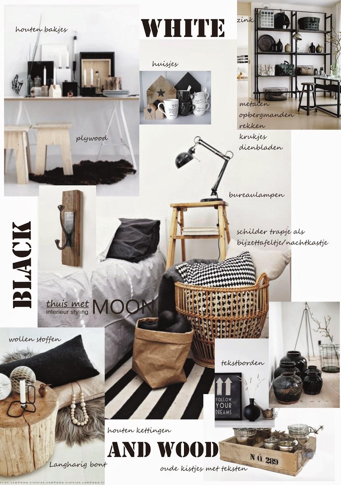 omdat de combinatie zwart wit nogal hard over kan komen is hout het ideale materiaal om wat extra warmte aan te brengen